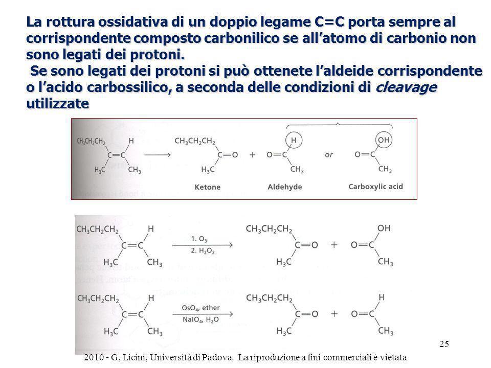 La rottura ossidativa di un doppio legame C=C porta sempre al corrispondente composto carbonilico se all'atomo di carbonio non sono legati dei protoni.