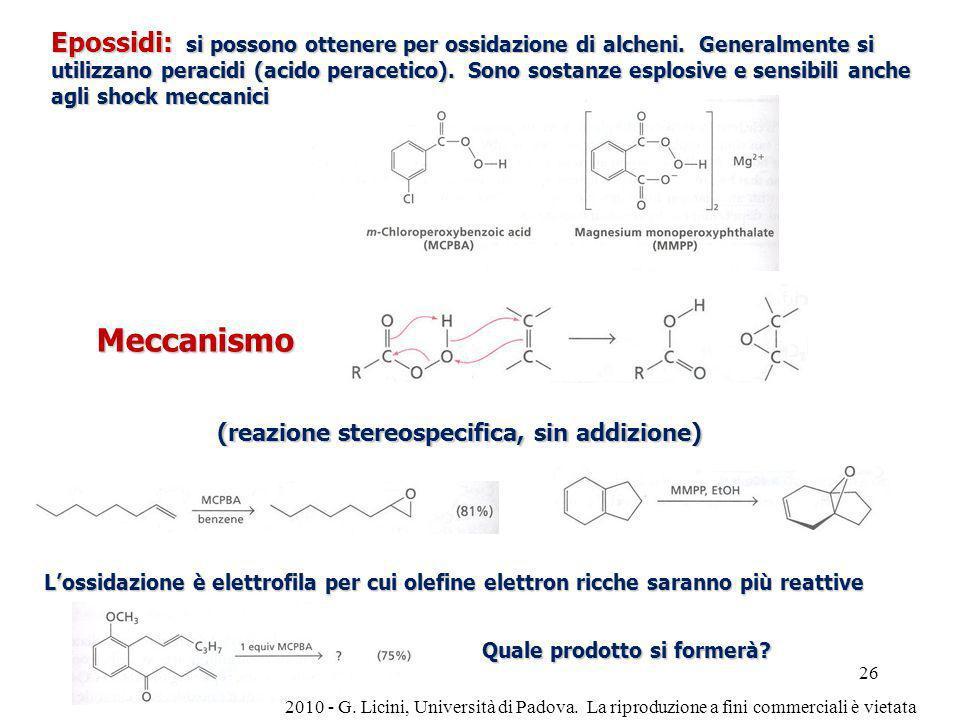 Epossidi: si possono ottenere per ossidazione di alcheni