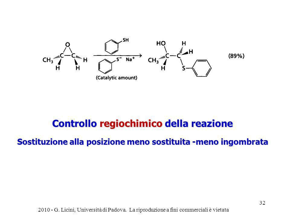 Controllo regiochimico della reazione