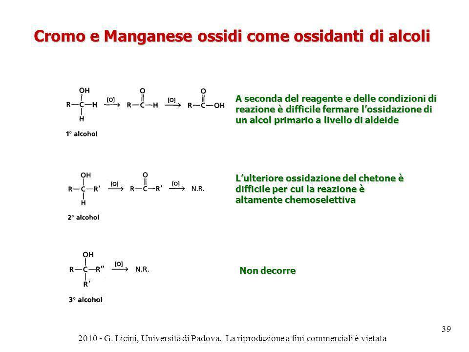Cromo e Manganese ossidi come ossidanti di alcoli