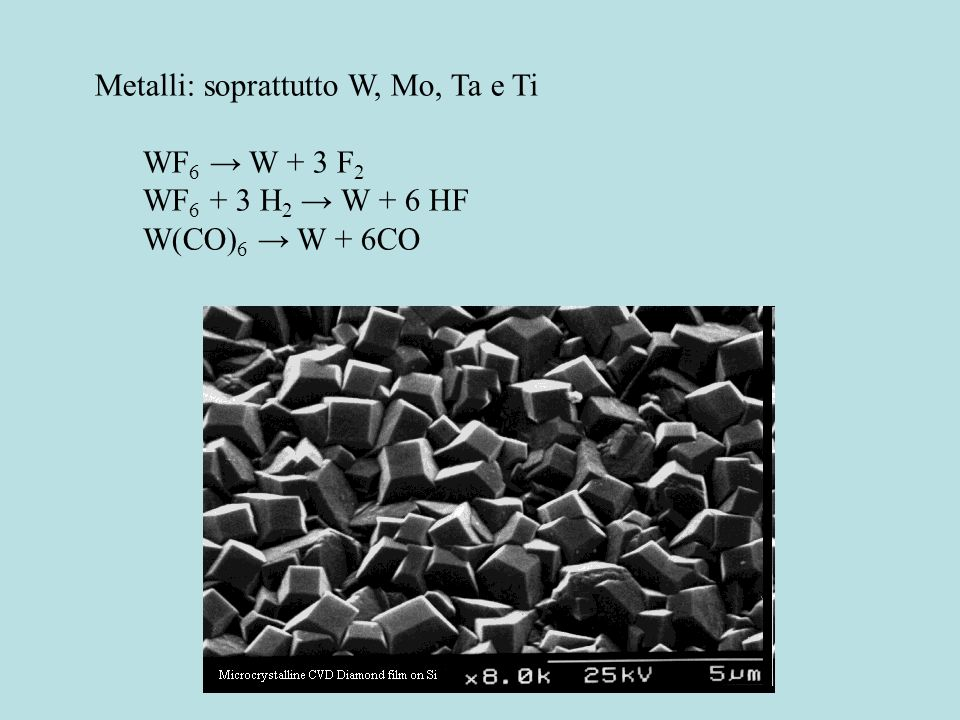 Metalli: soprattutto W, Mo, Ta e Ti