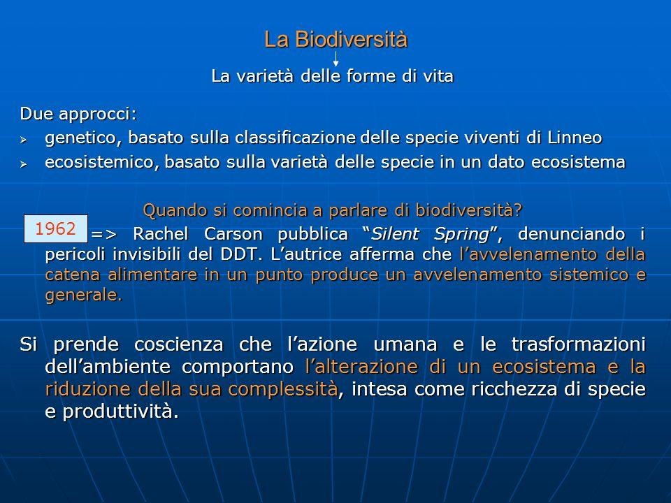 La Biodiversità La varietà delle forme di vita. Due approcci: genetico, basato sulla classificazione delle specie viventi di Linneo.