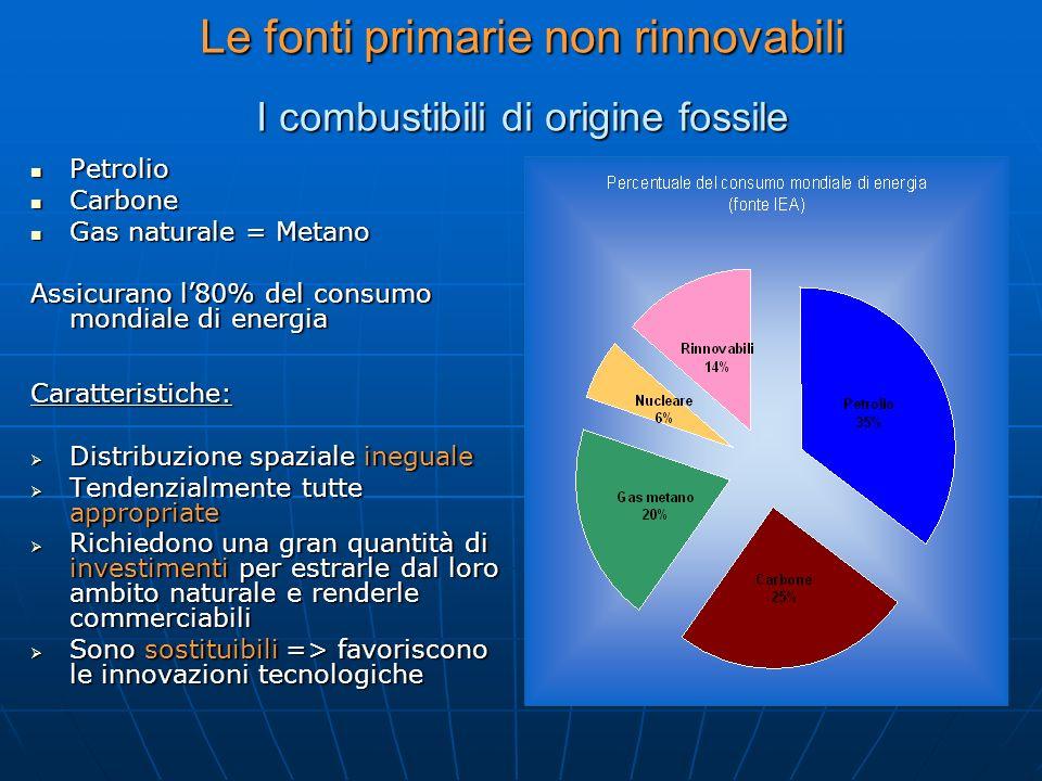 Le fonti primarie non rinnovabili I combustibili di origine fossile