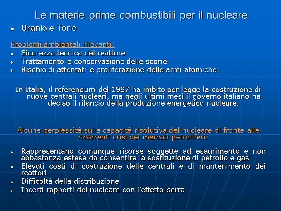 Le materie prime combustibili per il nucleare