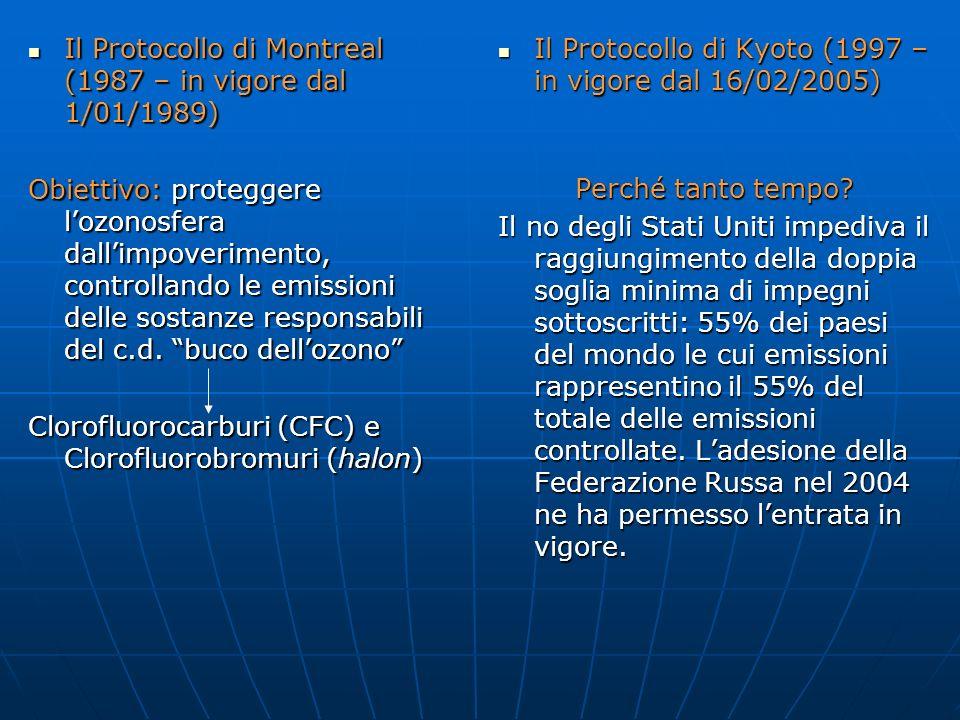 Il Protocollo di Montreal (1987 – in vigore dal 1/01/1989)