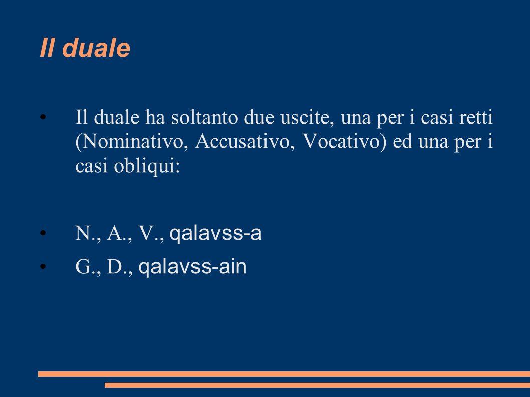 Il duale Il duale ha soltanto due uscite, una per i casi retti (Nominativo, Accusativo, Vocativo) ed una per i casi obliqui: