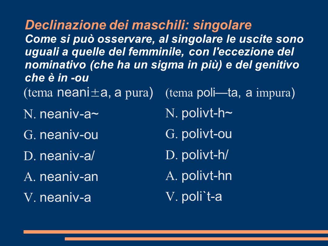 Declinazione dei maschili: singolare Come si può osservare, al singolare le uscite sono uguali a quelle del femminile, con l eccezione del nominativo (che ha un sigma in più) e del genitivo che è in -ou