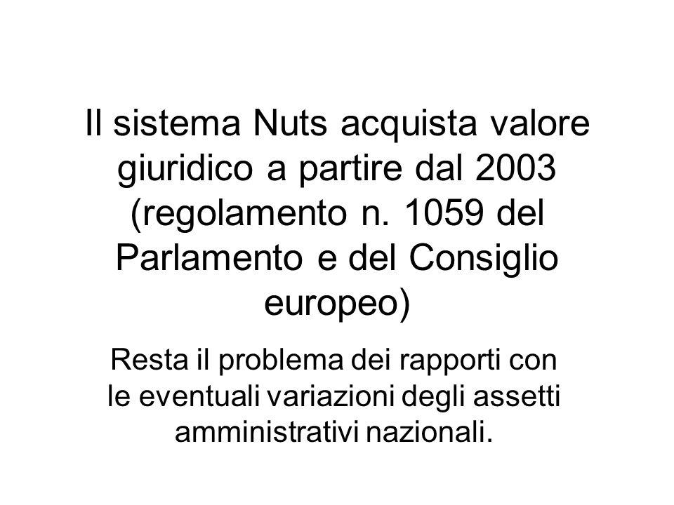 Il sistema Nuts acquista valore giuridico a partire dal 2003 (regolamento n. 1059 del Parlamento e del Consiglio europeo)