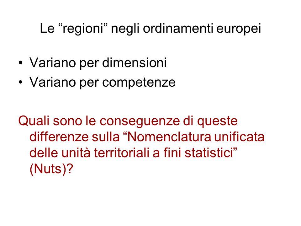 Le regioni negli ordinamenti europei