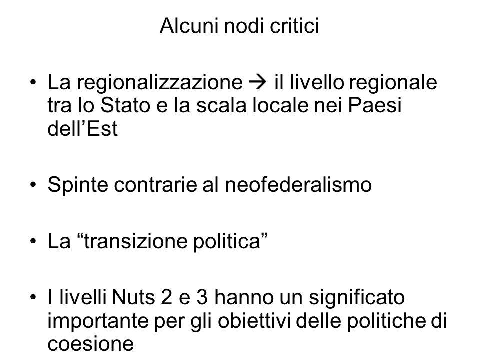 Alcuni nodi critici La regionalizzazione  il livello regionale tra lo Stato e la scala locale nei Paesi dell'Est.