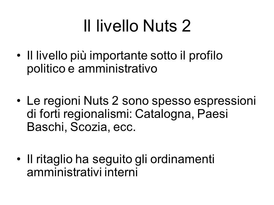 Il livello Nuts 2 Il livello più importante sotto il profilo politico e amministrativo.