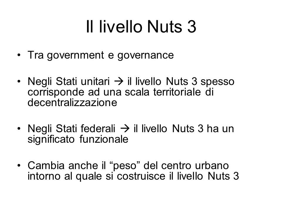 Il livello Nuts 3 Tra government e governance
