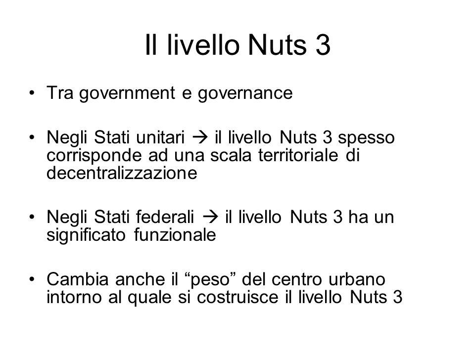Il livello Nuts 3 Tra government e governance