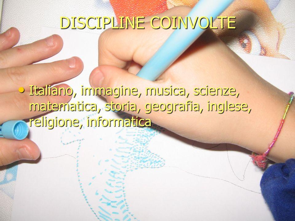 DISCIPLINE COINVOLTE Italiano, immagine, musica, scienze, matematica, storia, geografia, inglese, religione, informatica.