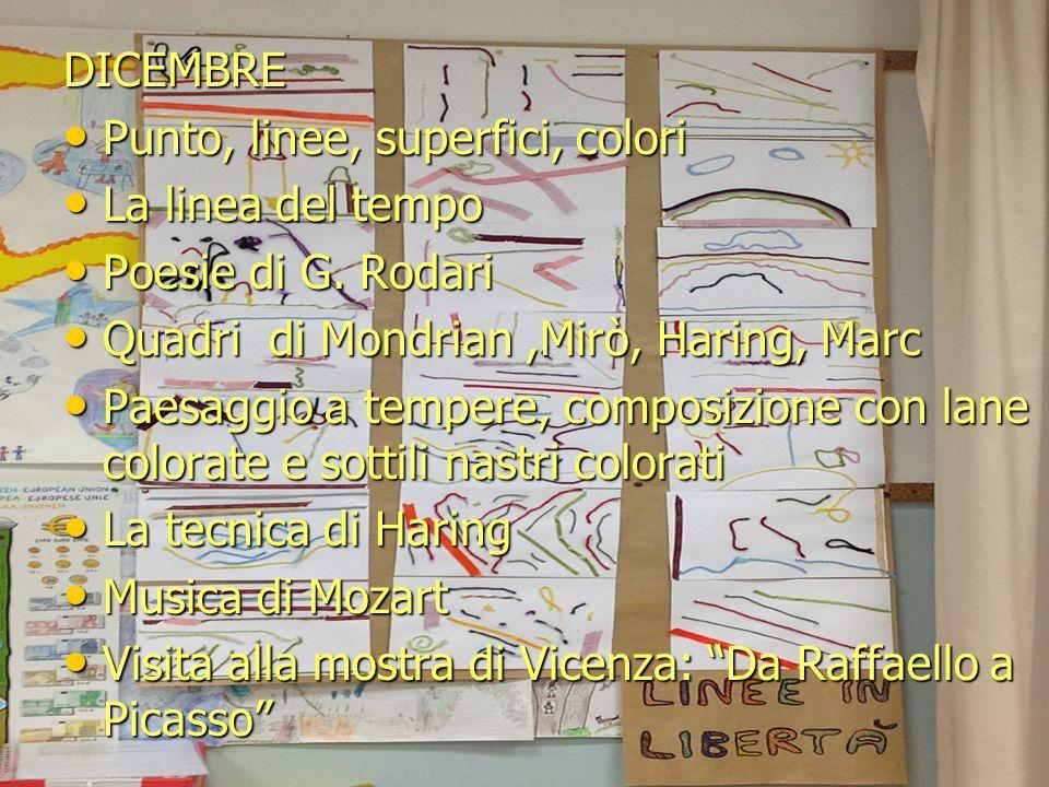 DICEMBRE Punto, linee, superfici, colori. La linea del tempo. Poesie di G. Rodari. Quadri di Mondrian ,Mirò, Haring, Marc.