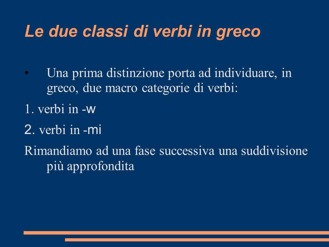Le due classi di verbi in greco