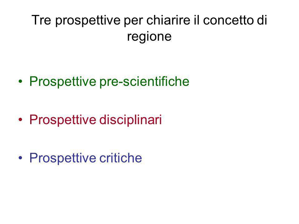 Tre prospettive per chiarire il concetto di regione