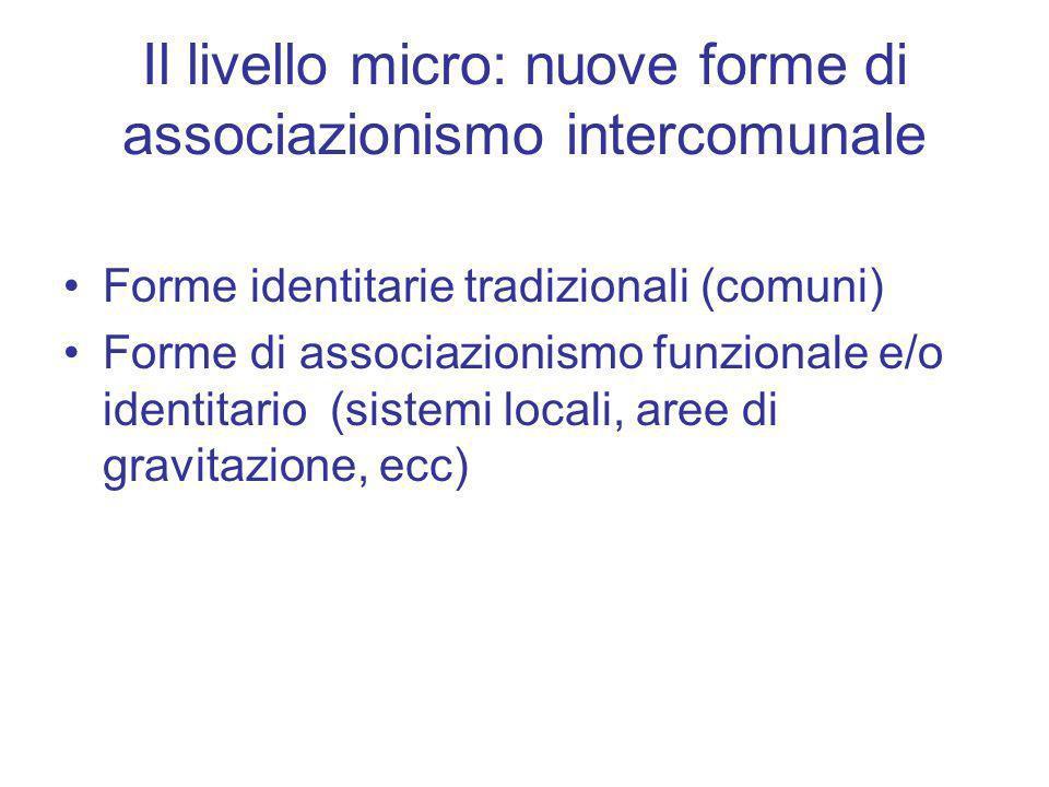 Il livello micro: nuove forme di associazionismo intercomunale