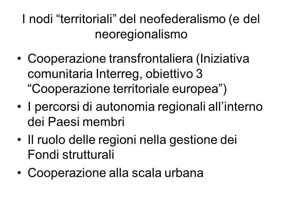 I nodi territoriali del neofederalismo (e del neoregionalismo