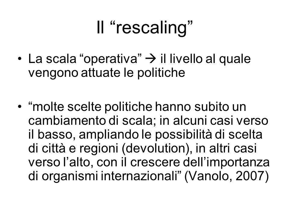 Il rescaling La scala operativa  il livello al quale vengono attuate le politiche.