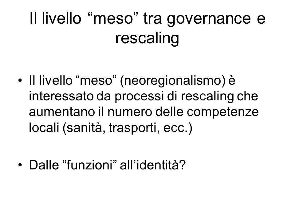 Il livello meso tra governance e rescaling