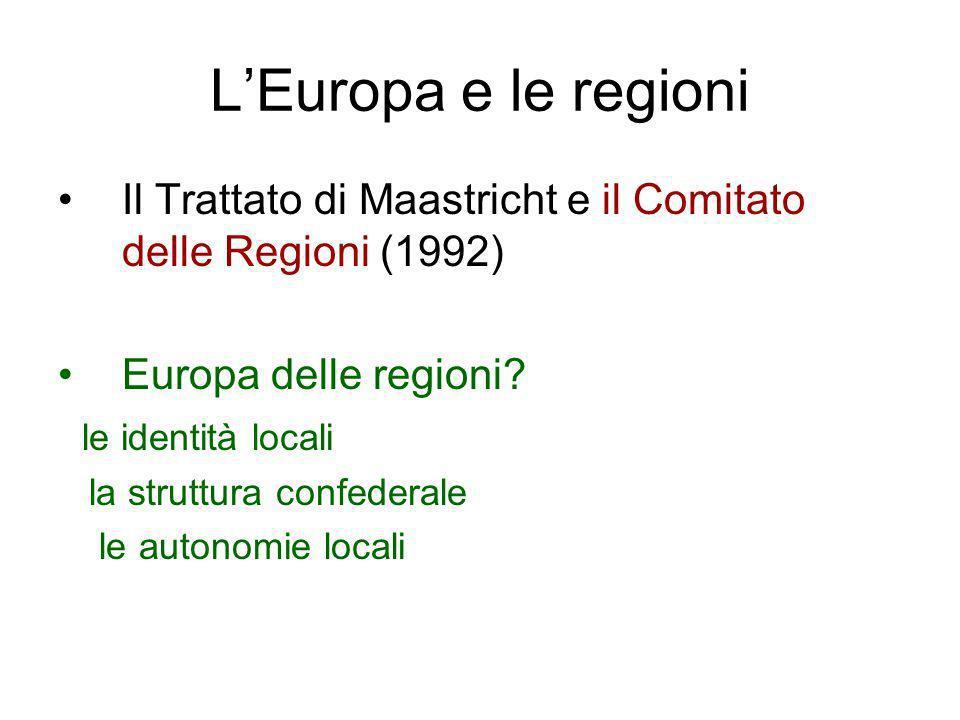 L'Europa e le regioni Il Trattato di Maastricht e il Comitato delle Regioni (1992) Europa delle regioni