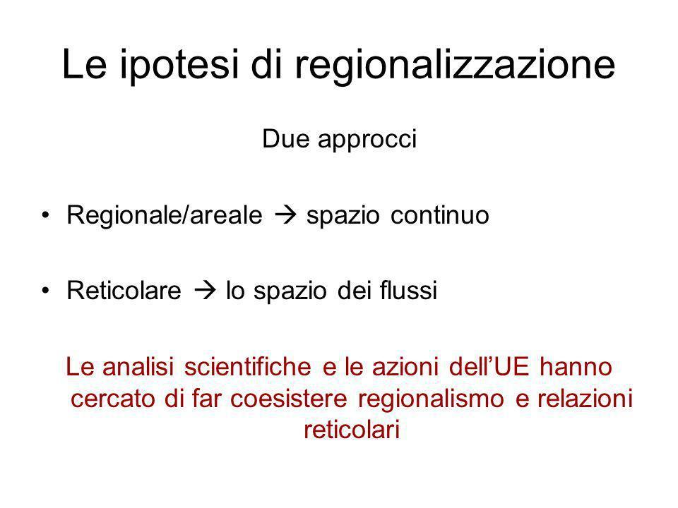 Le ipotesi di regionalizzazione