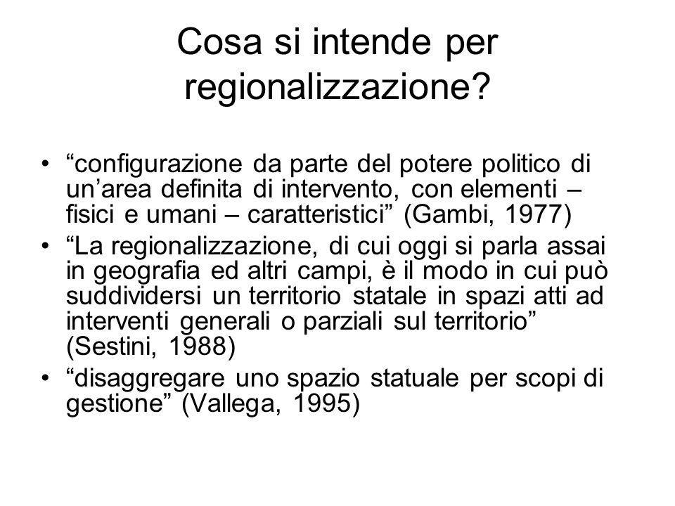 Cosa si intende per regionalizzazione