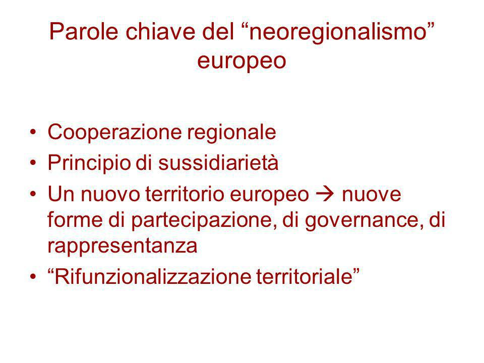 Parole chiave del neoregionalismo europeo