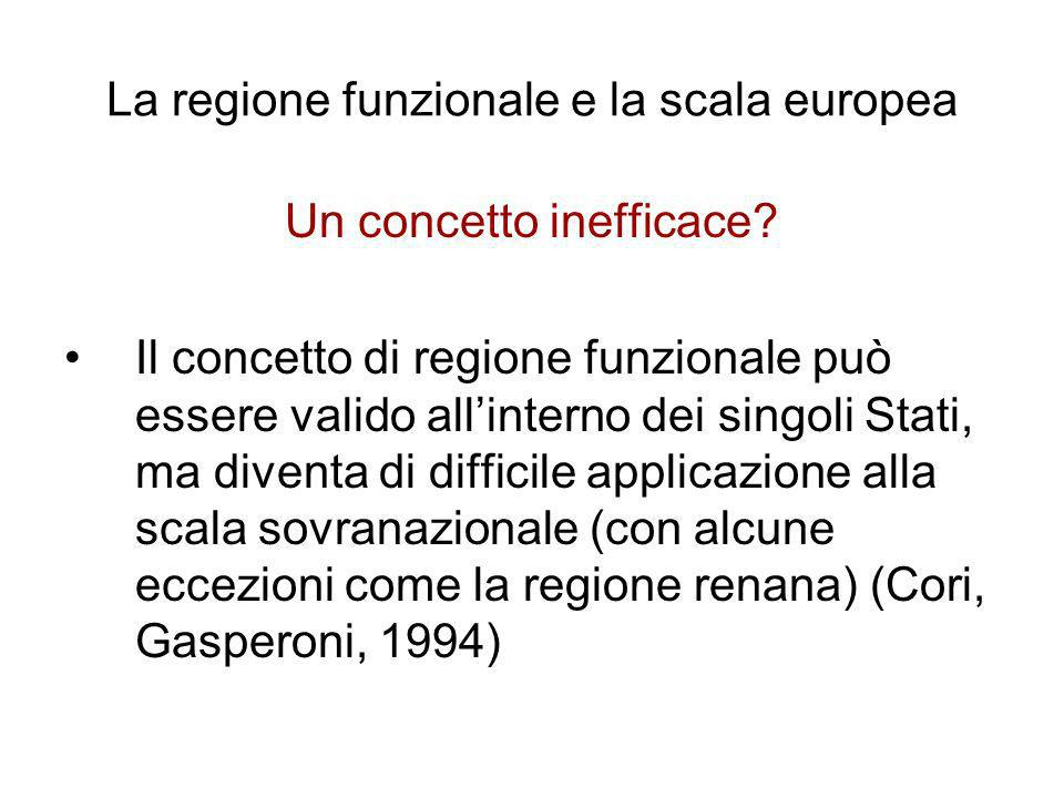 La regione funzionale e la scala europea