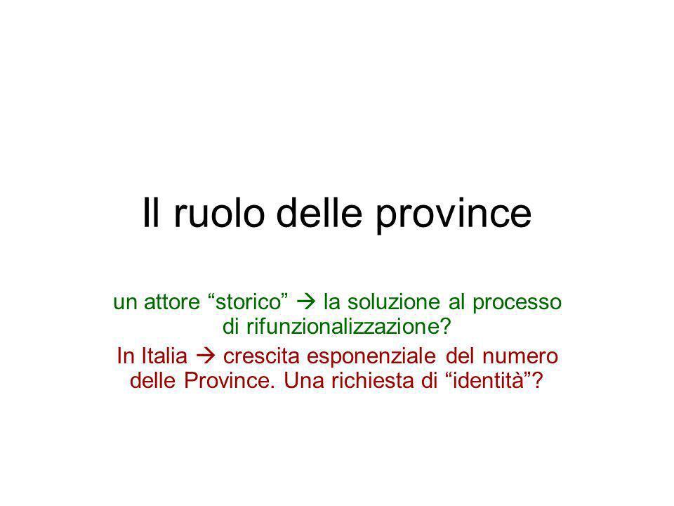 Il ruolo delle province