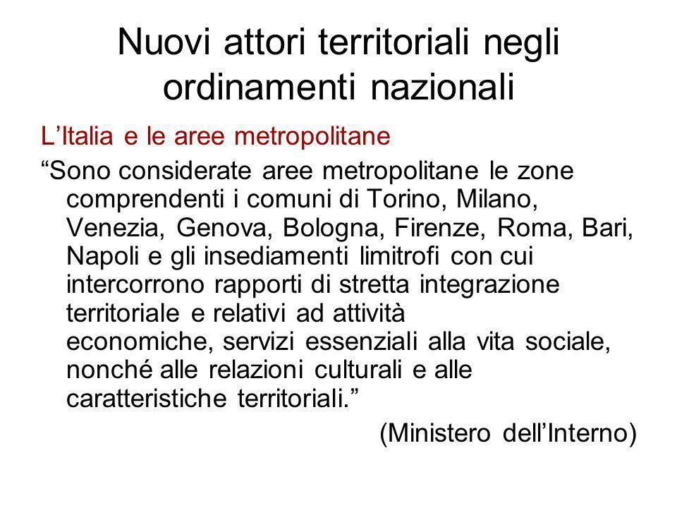 Nuovi attori territoriali negli ordinamenti nazionali
