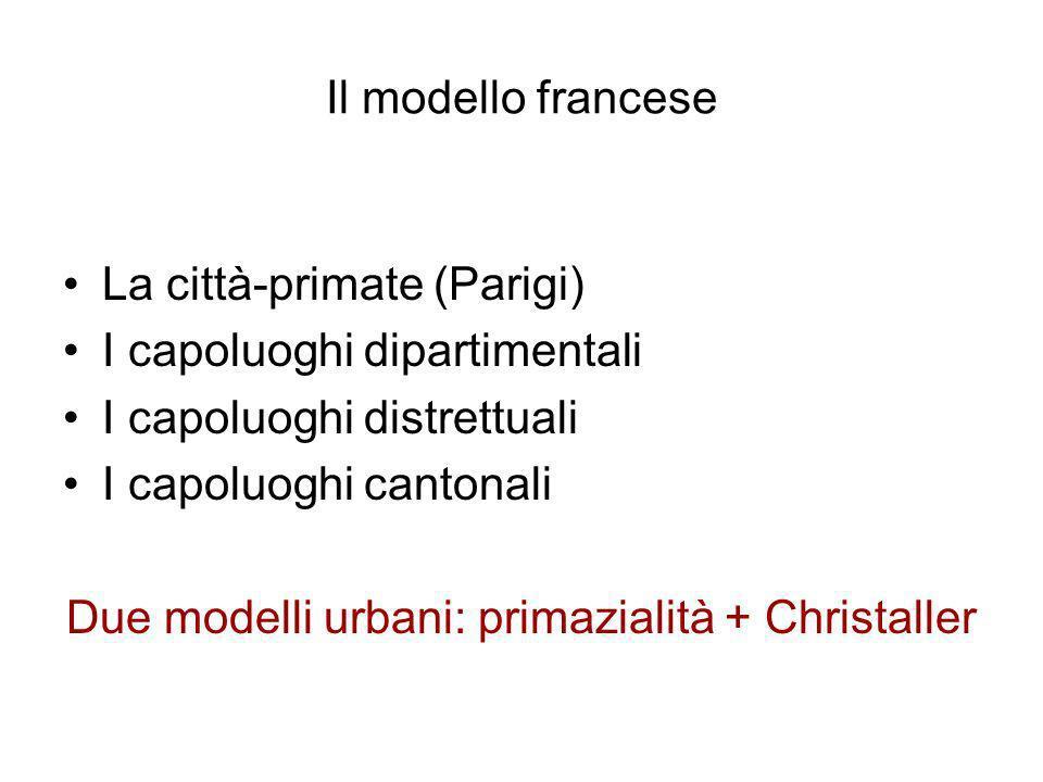 Due modelli urbani: primazialità + Christaller