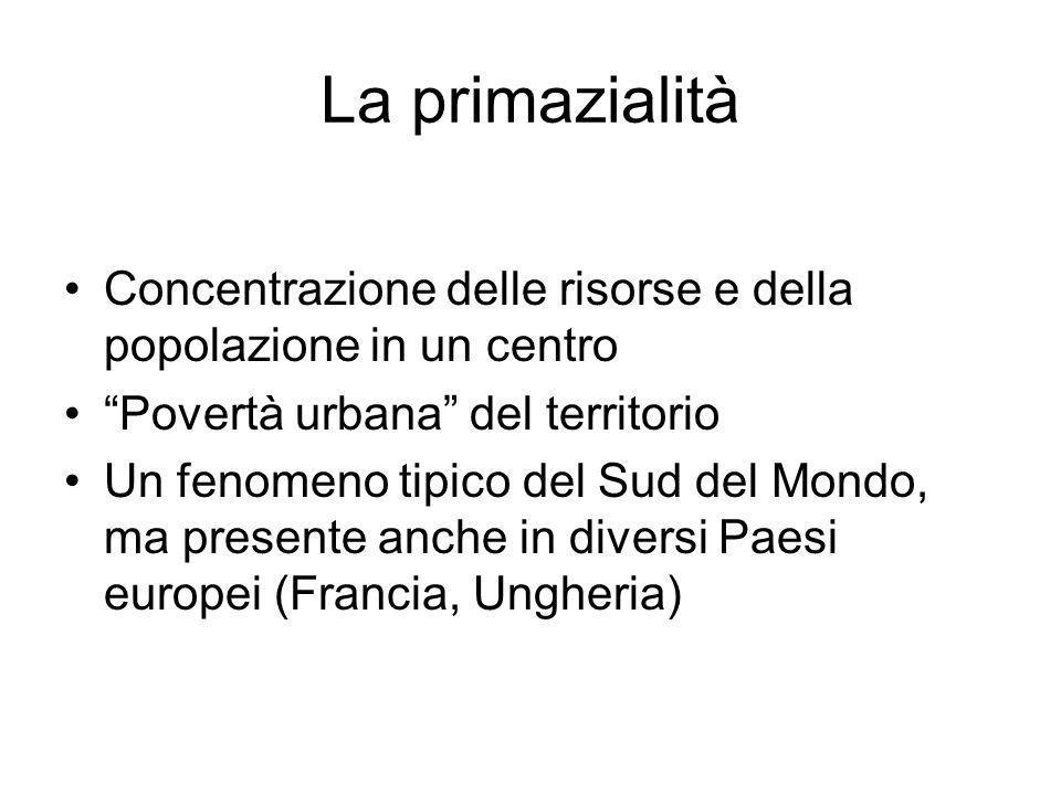 La primazialità Concentrazione delle risorse e della popolazione in un centro. Povertà urbana del territorio.