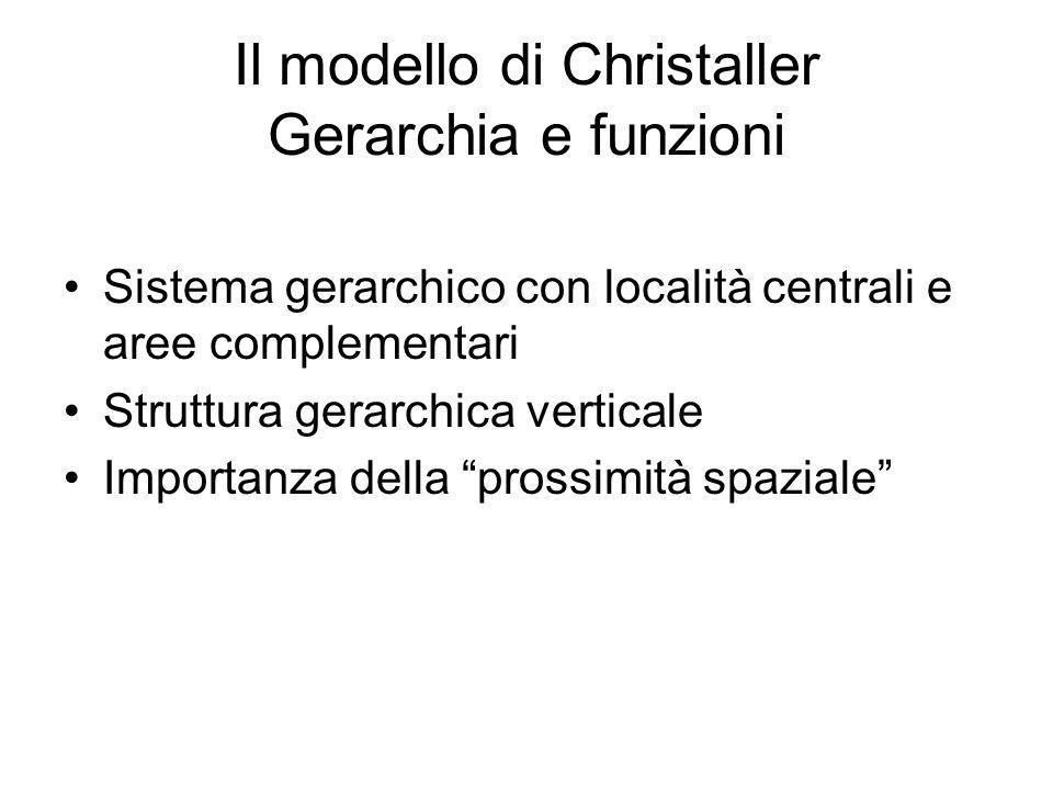 Il modello di Christaller Gerarchia e funzioni