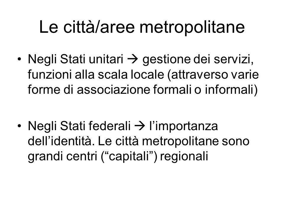 Le città/aree metropolitane
