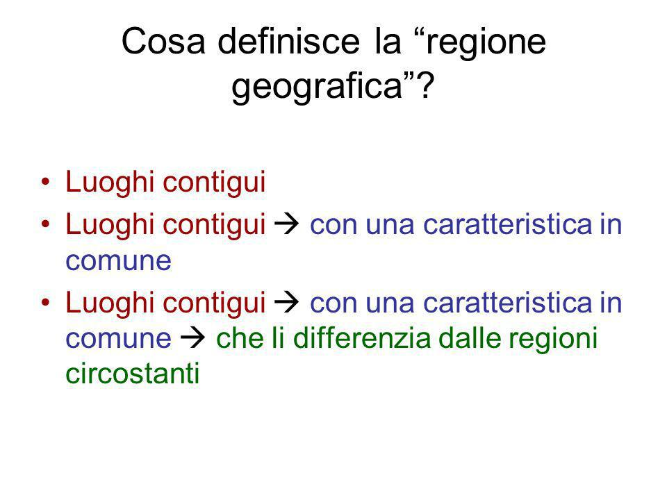 Cosa definisce la regione geografica