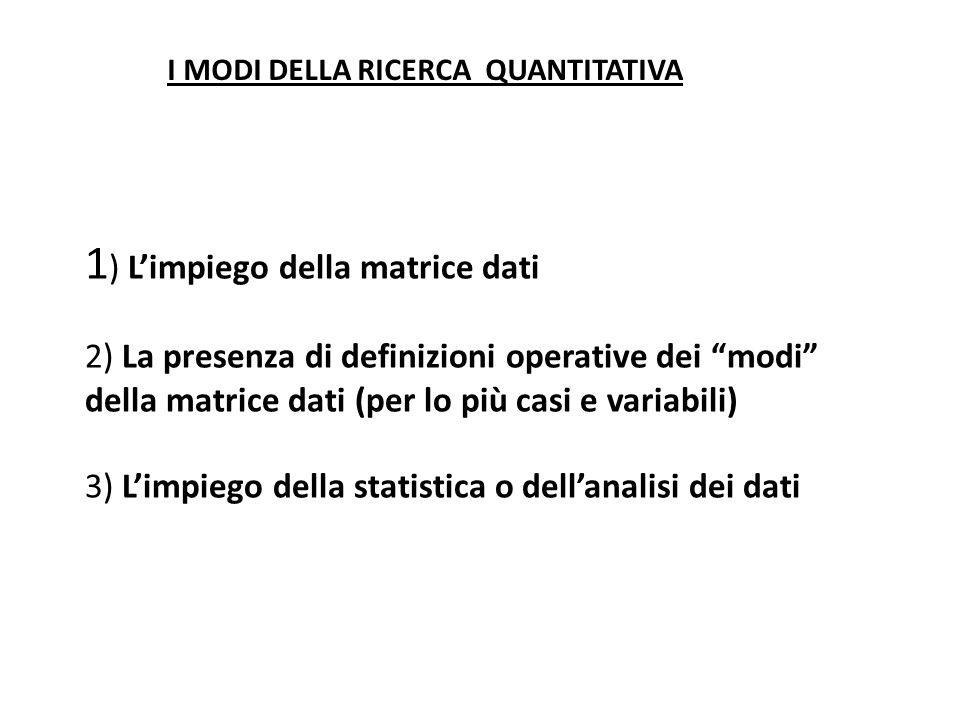 1) L'impiego della matrice dati 2) La presenza di definizioni operative dei modi della matrice dati (per lo più casi e variabili) 3) L'impiego della statistica o dell'analisi dei dati