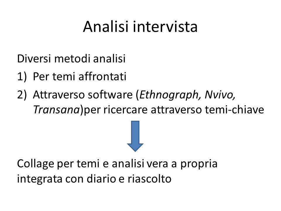 Analisi intervista Diversi metodi analisi Per temi affrontati