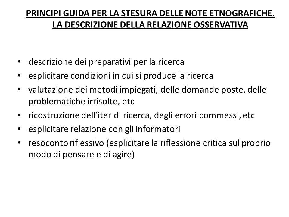 PRINCIPI GUIDA PER LA STESURA DELLE NOTE ETNOGRAFICHE