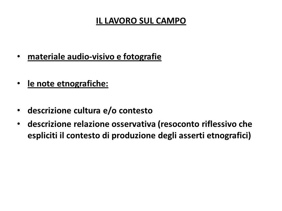 IL LAVORO SUL CAMPOmateriale audio-visivo e fotografie. le note etnografiche: descrizione cultura e/o contesto.