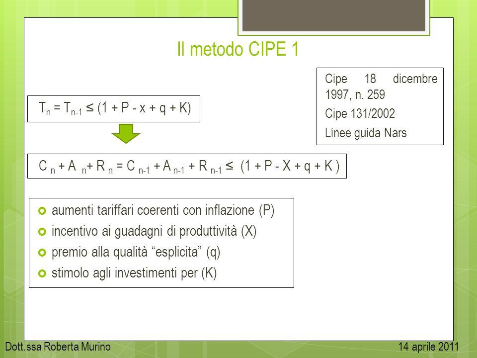 Il metodo CIPE 1 Tn = Tn-1 ≤ (1 + P - x + q + K)