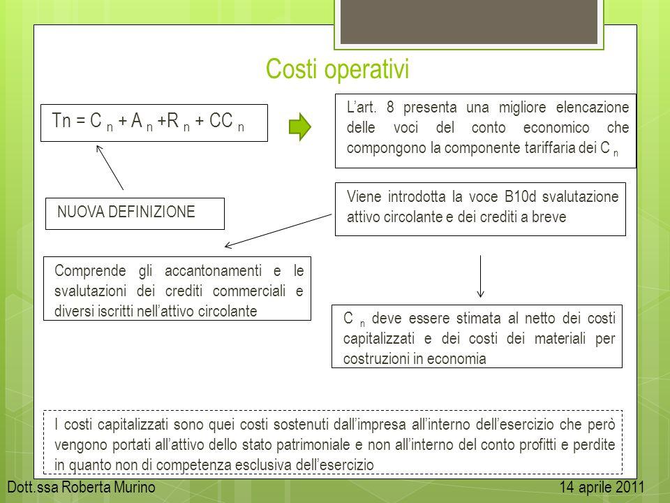 Costi operativi Tn = C n + A n +R n + CC n