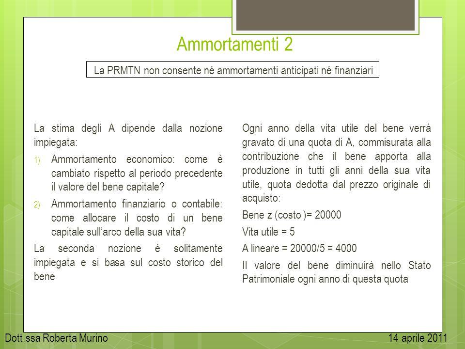 Ammortamenti 2 La PRMTN non consente né ammortamenti anticipati né finanziari. La stima degli A dipende dalla nozione impiegata: