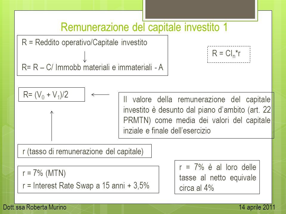 Remunerazione del capitale investito 1