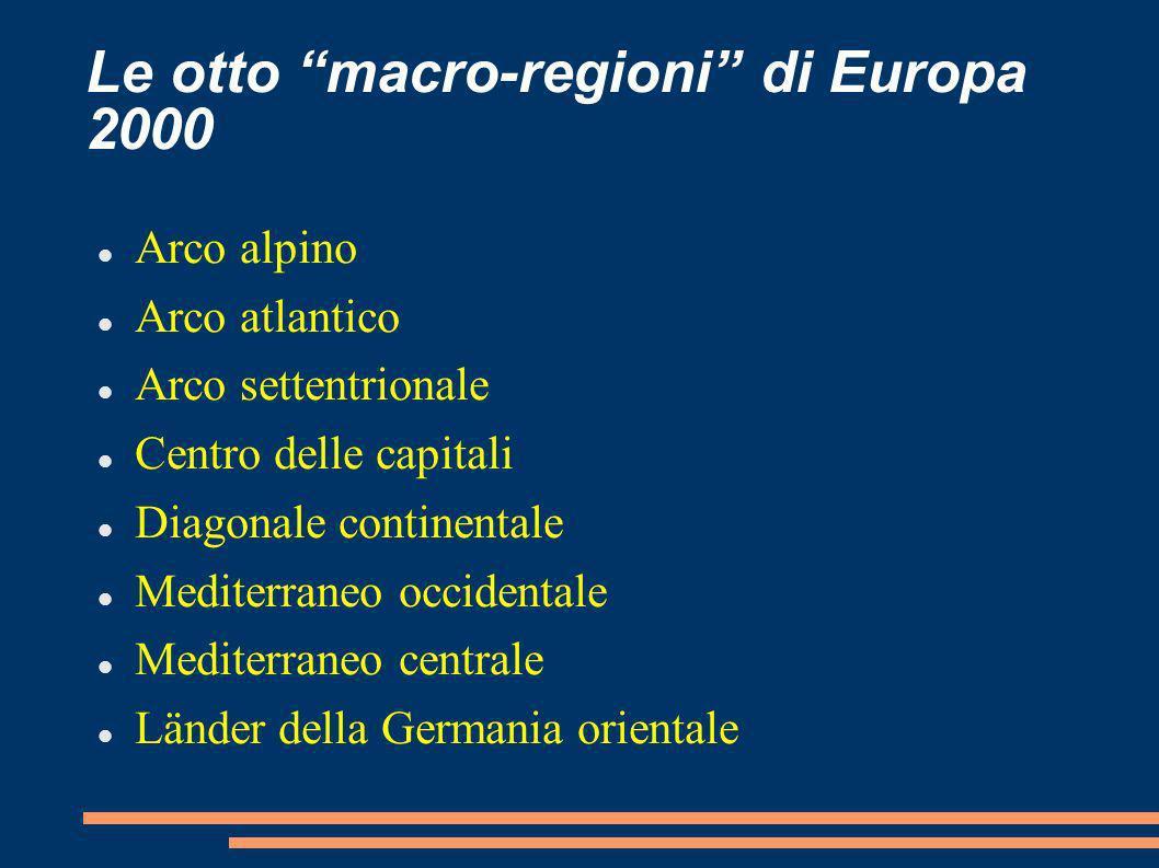 Le otto macro-regioni di Europa 2000