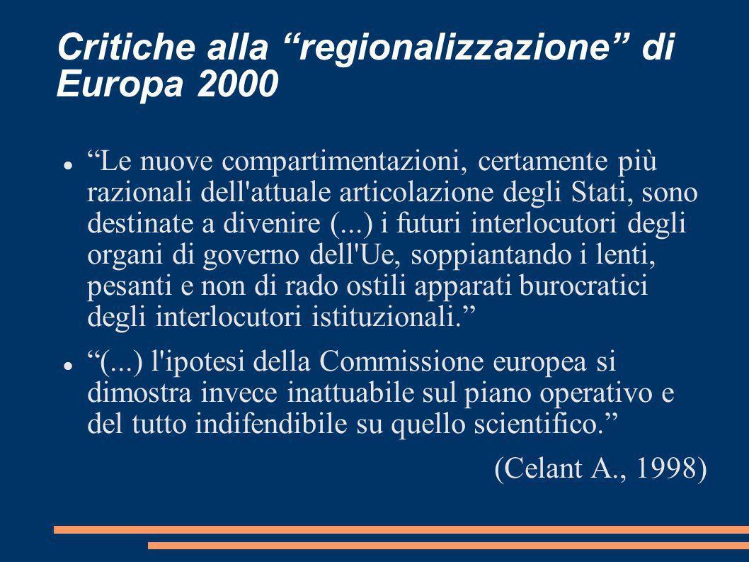 Critiche alla regionalizzazione di Europa 2000