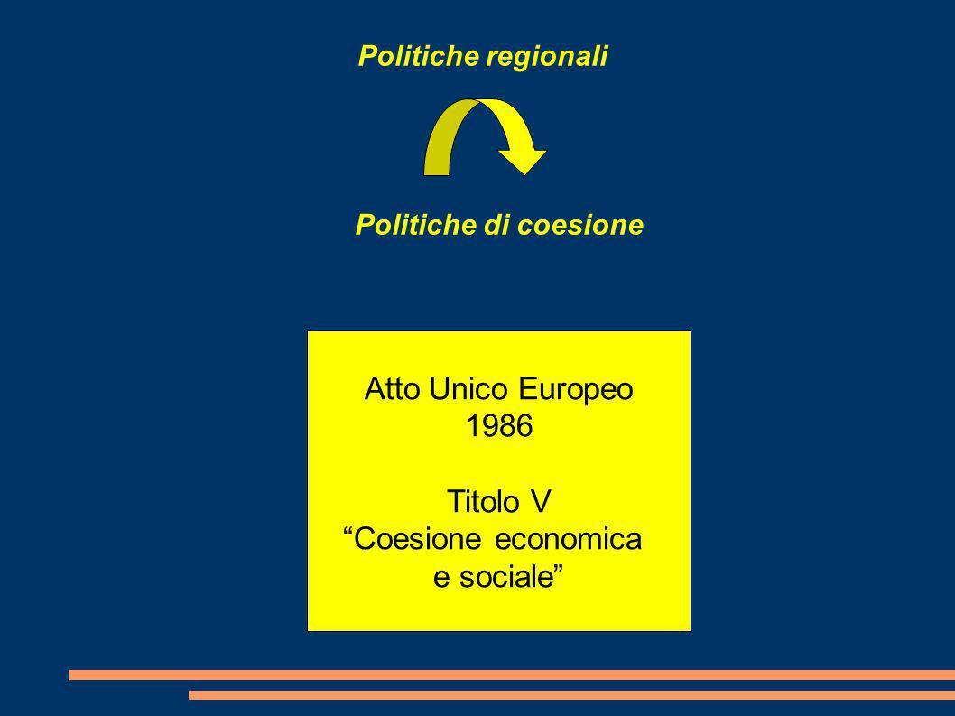 Politiche regionali Politiche di coesione