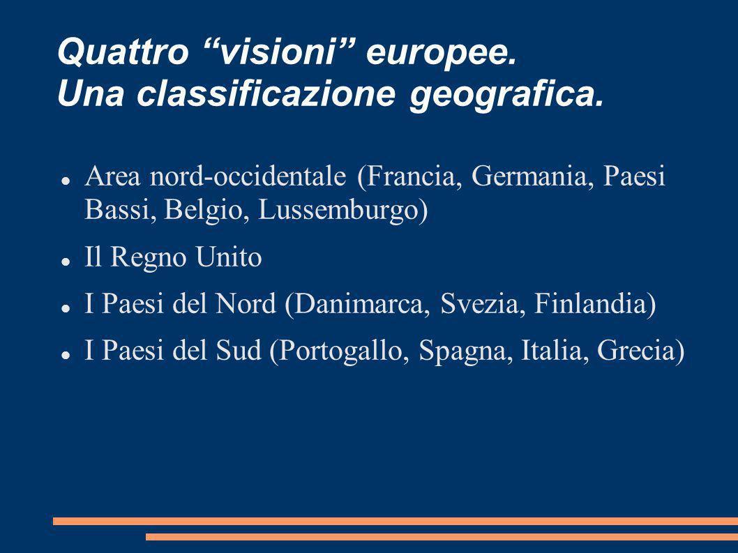 Quattro visioni europee. Una classificazione geografica.