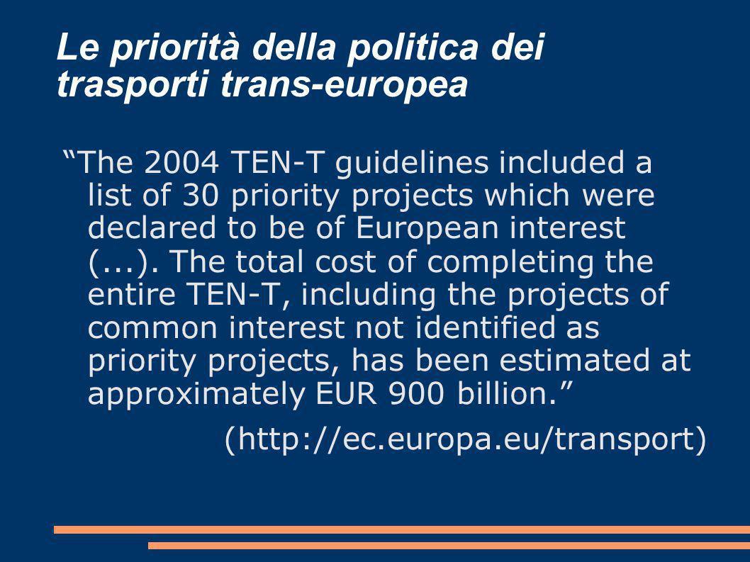 Le priorità della politica dei trasporti trans-europea